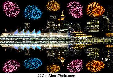 vancouver., fireworks, sopra