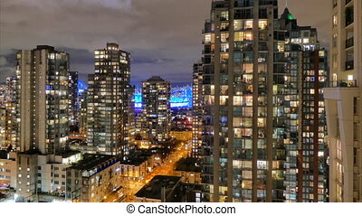 Vancouver night downtown highrises timelapse