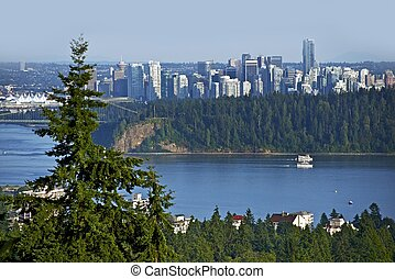 Vancouver Panorama Watching South From North Vancouver. British Columbia, Canada.