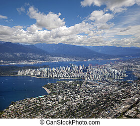 Vancouver - panoramic view with downtown and Coast Mountains