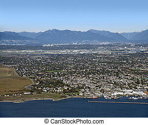 Vancouver, Richmond, Steveston, Vancouver International Airport, Coast Mountains and Fraser Valley