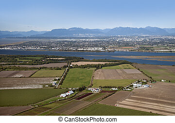 Vancouver, Richmond, Westham Island, airport, farms and fields