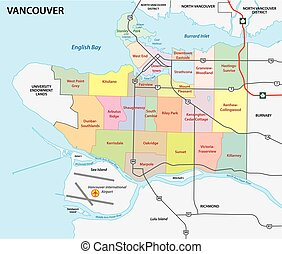 vancouver road and administrative vector map