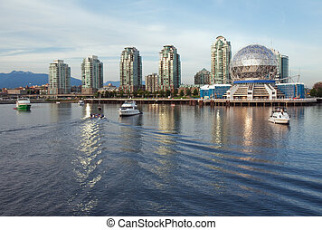Vancouver Science World skyline from the water of False ...