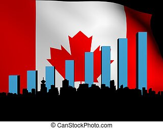 Vancouver skyline and graph over Canadian flag illustration