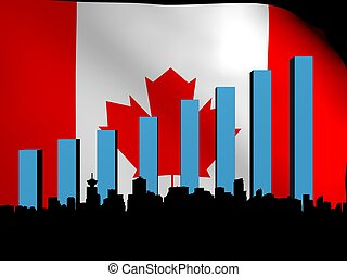 Vancouver skyline and graph over flag illustration