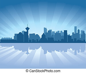 Vancouver skyline with reflection in water