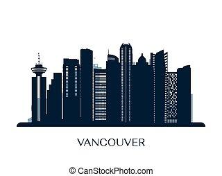 Vancouver skyline, monochrome silhouette.