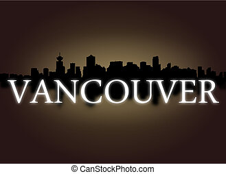 Vancouver skyline reflected with dramatic sky and text ...