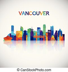 Vancouver skyline silhouette in colorful geometric style.