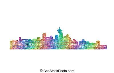 Vancouver skyline silhouette - multicolor line art