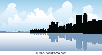 Skyline silhouette of the city of Vancouver, British Columbia, Canada.