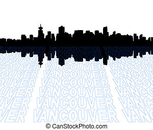 Vancouver skyline with perspective text outline foreground