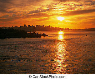 Vancouver - skyline with sunset and Burrard Inlet