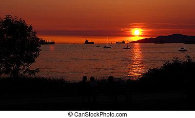 vancouver, sopra, baia, tramonto, inglese