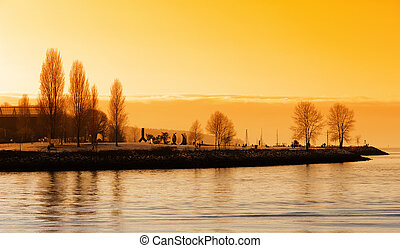 vancouver, tramonto, porto