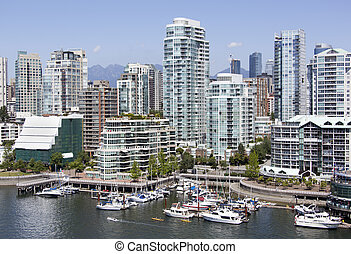 Vancouver's Marina - The view of False Creek marina with...