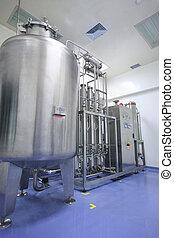 vand, destillatør, ind, fabrik