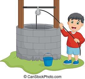 vand, dreng, godt, holde