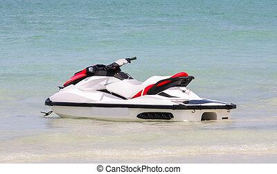 vand, eller, ski, havet, springe frem, thailand, scooter