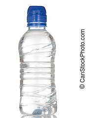 vand, fulde, flaske, plastik