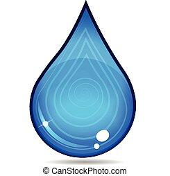 vand, logo, nedgang, vektor, ikon