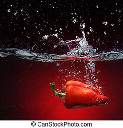 vand, peber, fald, rød
