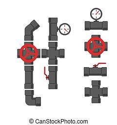 vand rør, rørarbejde, dele, hos, valve., vektor,...