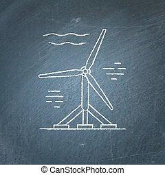 vand, turbine, chalkboard, skitse