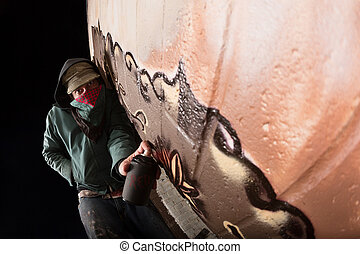 Vandal Painting on Wall