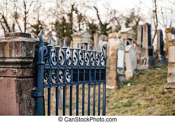 Vandalised graves in Jewish cemetery in Quatzenheim - Hebrew...