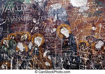 Vandalism - Fresco on the wall of church in Sumela monastery...