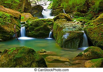 vandfald, ind, grønne, natur