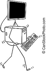 vandrande, övervaka, huvud, desktop dator, tecknad film