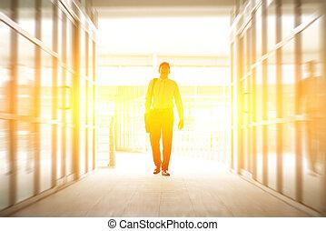 vandrande, affär, kontor, folk, nymodig, genom