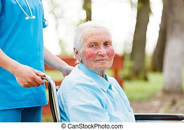 vandrande, dam, rullstol, äldre