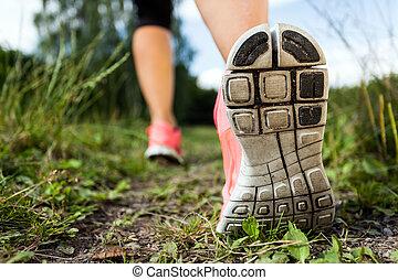 vandrande, eller, spring, ben, in, skog, äventyr, och,...