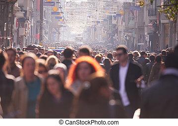 vandrande, gata, folkmassa, folk