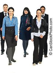 vandrande, grupp, affärsfolk