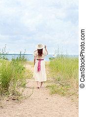 vandrande, kvinna, årgång, redhead, bana, strand