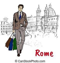 vandrande, kvinna, rom