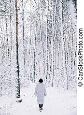 vandrande, kvinna, snöig, baksida, skog, synhåll