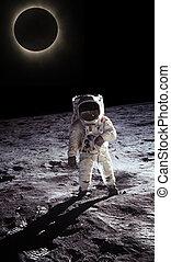 vandrande, måne, astronaut