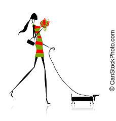 vandrande, mode, silhuett, hund, flicka