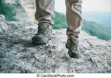 vandrande, på, klippa, yta