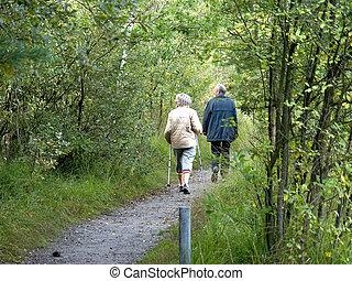 vandrande, seniors, folk, forest., mitt åldraades