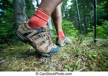 vandrande stöveln, stänger, trekking, resande, ben