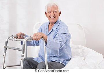 vandrande, tålmodig, sjukhus, ram