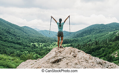 vandrare, lycklig, stänger, trekking
