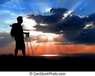 vandrare, silhuett, hos, solnedgång